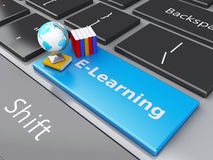 3d Books on the computer keyboard. Online Education concept. Royalty Free Stock Photos