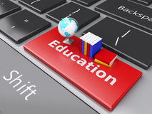 3d books and earth icon on computer keyboard. Education concept. Stock Photos