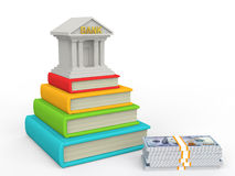 3d books and education loan concept. 3d render of books and education loan concept Stock Image