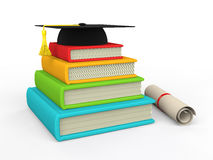 3d books and graduation hat Stock Images