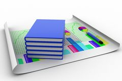 3d books with graph and pencil Royalty Free Stock Images