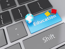3d books icon on computer keyboard. Education concept. Stock Photography