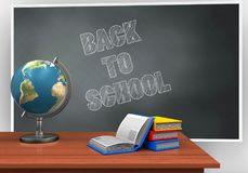 3d books. 3d illustration of blackboard with back to school text and books Royalty Free Stock Photography