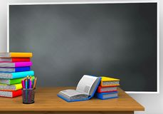 3d books. 3d illustration of blackboard with books and pile of literature Royalty Free Stock Images