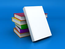 3d books. 3d illustration of books stack over blue background Stock Photo