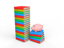 3d books with piggy bank. Depicting education savings concept Royalty Free Stock Image