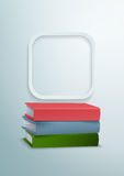 3d Books and Rounded Rectangle Vector Background Stock Photos