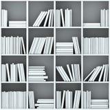 3d books on shelf. 3d books on white  shelves Royalty Free Stock Photos
