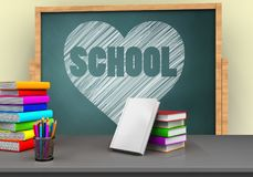 3d books stack. 3d illustration of board with heart and school text and books stack Stock Photos