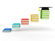 3d books steps with graduation hat. 3d render of books steps with graduation hat Stock Images