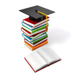 3d books and student cap. On white background Royalty Free Stock Photos
