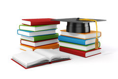 3d books and student cap. On white background Stock Image