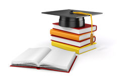3d books and student cap. On white background Royalty Free Stock Photo