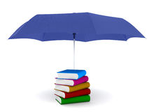3d books under umbrella. 3d umbrella covers books for safety and safe Royalty Free Stock Images