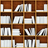 3d books on wooden shelf Royalty Free Stock Image
