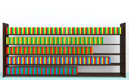 3d bookshelf and books. 3d render of bookshelf and books Stock Image