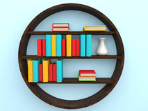 3d bookshelf with books. 3d render of bookshelf with books Royalty Free Stock Photo