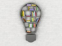 3d Bookshelf in form of bulb. 3d renderer image. Bookshelf in form of bulb. Inspiration, creative and new idea concept Stock Images