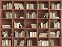 3d bookshelf. Isolated 3d bookshelf with white books royalty free stock images