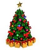 3d boom met speelgoed op witte achtergrond Royalty-vrije Stock Afbeeldingen