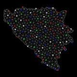2D Bosnien och Hercegovina f?r ljust ingrepp ?versikt med signalljusfl?ckar stock illustrationer