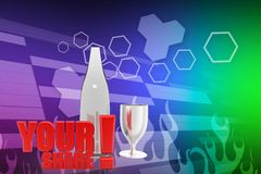 3d bottle glass your share illustration Stock Photos