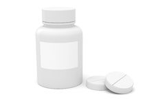 3d bottle and medicine pills. On white background Stock Image