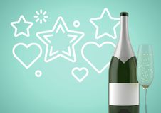 3D Bottle of wine with champagne glass against green background with stars and hearts illustrations. Digital composite of 3D Bottle of wine with champagne glass Stock Image