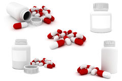 3d bottles and capsule pills. On white background Stock Image