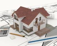 3D bouw met blauwdrukplannen Stock Afbeelding