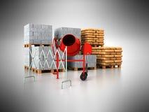 3d bouwmaterialen de pallets geven op grijze achtergrond terug Royalty-vrije Stock Fotografie