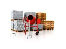 3d bouwmaterialen de pallets geven op witte achtergrond terug Stock Afbeeldingen