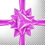 3D Bow Ribbon Vector. Beautiful Bright Ribbon. Decoration For Birthday Gift, Anniversary, Party Design.  On Royalty Free Stock Photo