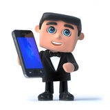 3d Bow tie has a smartphone. 3d render of a man in a tuxedo and bow tie holding a smartphone Royalty Free Stock Photos
