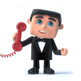 3d Bow tie spy answers the red phone. 3d render of a man in a tuxedo and bow tie holding a red telephone receiver Stock Images