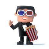 3d Bow tie spy at the 3d movies. 3d render of a man in a tuxedo and bow tie eating popcorn and wearing 3d glasses Royalty Free Stock Photo