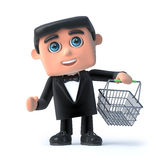 3d Bow tie spy goes shopping. 3d render of a man in a bow tie and tuxedo carrying a shopping basket Royalty Free Stock Photos