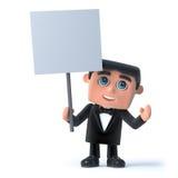 3d Bow tie spy has a blank placard Stock Photography