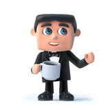 3d Bow tie spy has a cup of tea Stock Image