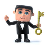 3d Bow tie spy has the gold key Royalty Free Stock Photography