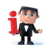 3d Bow tie spy has information Stock Image
