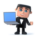 3d Bow tie spy has a laptop. 3d render of a man in a tuxedo and bow tie holding a laptop Stock Photo