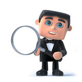 3d Bow tie spy has a magnifying glass. 3d render of a man in a tuxedo and bow tie holding a magnifying glass Royalty Free Stock Photos