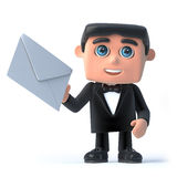 3d Bow tie spy has mail. 3d render of a man in a tuxedo and bow tie holding an envelope Royalty Free Stock Photo