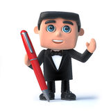 3d Bow tie spy has a pen Stock Photography