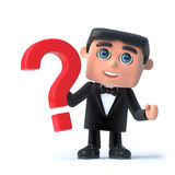 3d Bow tie spy has a question. 3d render of a man wearing a tuxedo and bow tie and holding a question mark symbol Stock Photography