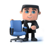 3d Bow tie spy has a vacancy. 3d render of a man in a tuxedo and bow tie standing next to an empty office chair Royalty Free Stock Photo