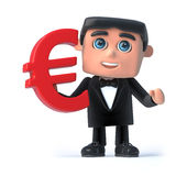 3d Bow tie spy holds Euro currency symbol. 3d render of a man wearing a bow tie and tuxedo and holding a Euro currency symbol Stock Photography