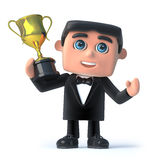 3d Bow tie spy holds the gold cup trophy Royalty Free Stock Photos