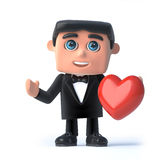 3d Bow tie spy holds a red heart. 3d render of a man wearing a tuxedo and bow tie and holding red heart Stock Photo